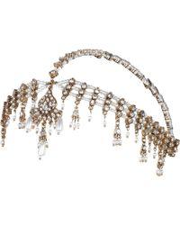 River Island White Faux Pearl Crown Hair Chain