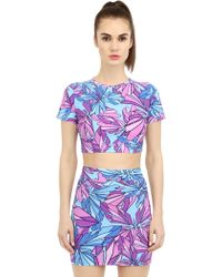 Mauna Kea - Butterfly Printed Lycra Cropped T-shirt - Lyst