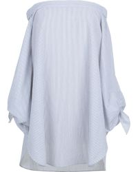 Tibi | Striped Shirting Off-the-shoulder Tunic | Lyst