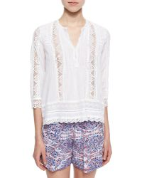 Rebecca Taylor Lace/Eyelet Voile Top - Lyst