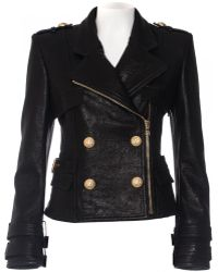 Balmain | Double-Breasted Leather Biker Jacket  | Lyst