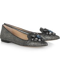 Tory Burch Mayada Embellished Metallic Suede Point-toe Flats - Lyst