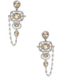 Oscar de la Renta Swarovski Crystal Clip-On Chandelier Earrings - Lyst