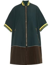 Kolor Side-split Bi-colour Coat - Green