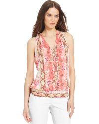 Laundry by Shelli Segal Sleeveless Printed Blouse - Lyst