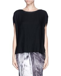 Helmut Lang Leather Trim Wool Blend Top - Lyst