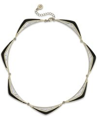 House Of Harlow Gold-tone Black and White Eclipse Collar Necklace - Lyst