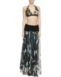 Jean Paul Gaultier Knit-waist Sheer Camouflage Skirt - Lyst