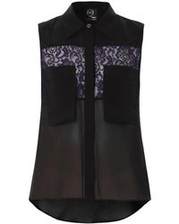 McQ by Alexander McQueen Crepe And Lace Top - Lyst