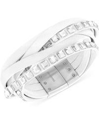 Swarovski Stainless Steel Crystal White Leather Wrap Bracelet - Lyst