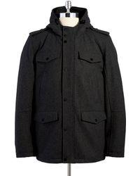 Guess Hooded Wool Coat - Black