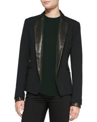 Theory Leandria Jacket W Leather Lapels Cuffs - Lyst