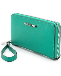 Michael by Michael Kors Jet Set Continental Tech Wallet Aqua - Lyst
