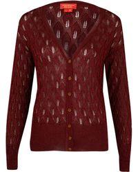 Vivienne Westwood Red Label Red Lurex Pointelle Knit Cardigan - Lyst