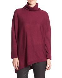 Eileen Fisher Wool Asymmetrical Turtleneck Sweater - Lyst