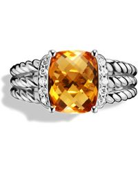 David Yurman Petite Wheaton Ring With Citrine And Diamonds - Metallic