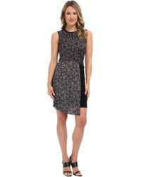 DKNY Sleeveless Faux Wrap Dress W Ponte Skirt and Faux Leather Trim - Lyst