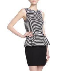 T+art Petaluma Sleeveless Peplum Striped Ponte Dress - Lyst