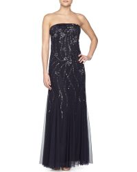 Adrianna Papell Sequined Strapless Trumpet Gown - Lyst