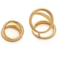 Rachel Zoe - Quills Set Of 2 Rings Goldcrystal - Lyst