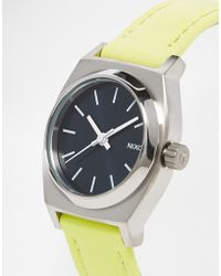 Nixon - Small Time Teller Lime Leather Watch - Lyst
