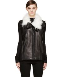 Helmut Lang Petal Leather Fur Lined Vest - Lyst