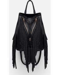 Zara | Fringed Bucket-style Backpack | Lyst