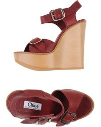 Chloé Red Sandals - Lyst