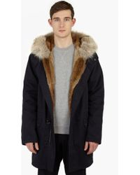 Yves Salomon | Navy Rabbit-fur Lined Parka | Lyst
