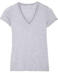 Splendid Grey Cotton V Neck Tshirt - Lyst