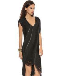 Haute Hippie Beloved Louise Fringe Dress Black - Lyst