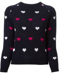 Peter Jensen Heart Pattern Jacquard Sweater - Lyst