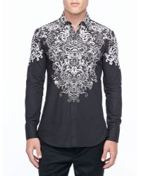 Alexander McQueen Long Sleeve Shirt with Silver Lace Print - Lyst