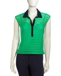 Nanette Lepore Sheer Stripe Contrast Collar Top - Lyst