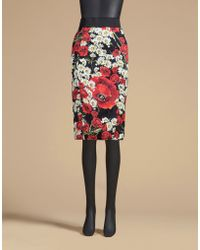 Dolce & Gabbana | Shaper Pencil Skirt In Printed Cady | Lyst