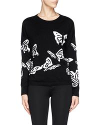Alice + Olivia Butterfly Intarsia Wool Sweater - Lyst