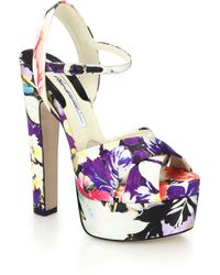 Brian Atwood Madison Floral-Print Silk Sandals - Lyst