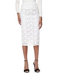 Burberry London Lace Midi-length Pencil Skirt - Lyst