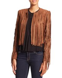 BCBGMAXAZRIA Farrell Cropped Faux Suede Fringe Jacket brown - Lyst