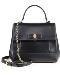 Ferragamo | Carrie Saffiano Leather Satchel | Lyst