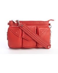 L.a.m.b. Red Leather Wide Strap Detail Carina Shoulder Bag - Lyst