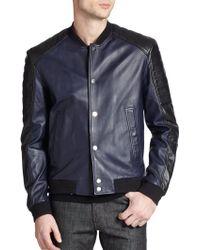 Versace Leather Varsity Moto Jacket - Lyst