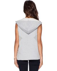 First Base - Sleeveless Cotton Hoodie - Lyst