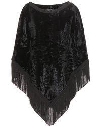 Dolce & Gabbana Fringed-Trim Lamb-Fur Poncho - Lyst