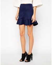 Selected Skirt In Scuba With Peplum - Lyst