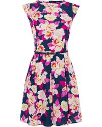 Oasis Large Orchid Viscose Skater - Lyst