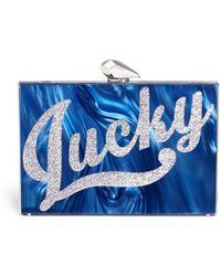 KOTUR 'lucky' Pearlescent Acrylic Merrick Clutch - Blue