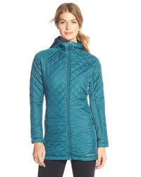 Merrell - 'soleil Mixer' Hooded Quilted Long Coat - Lyst