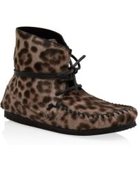 Isabel Marant Brown Flavie Leopard Print Calf Hair Moccasin Boots - Lyst