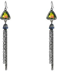 Guess Triangular Stone with Chain Linear Earring - Lyst